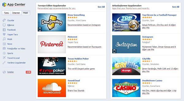 Facebook'un uygulama mağazası hizmete girdi
