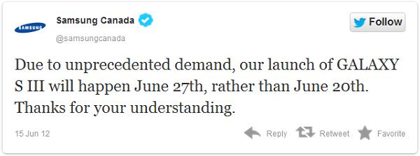 Samsung, yoğun talep nedeniyle Galaxy S3'ün Kanada çıkışını bir hafta erteledi