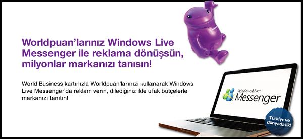 World Business kart ile Windows Live Messenger'da reklam vermek çok kolay