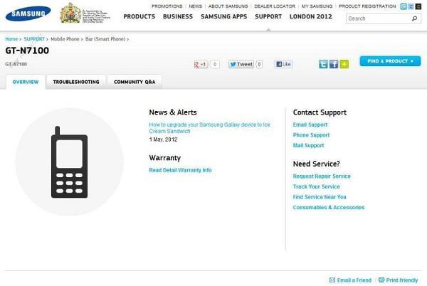 GT-N7100 ve GT-I9305, Samsung'un resmi destek sayfasında göründü