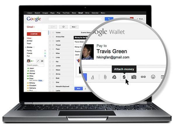 Google Wallet entegrasyonu sayesinde, Gmail üzerinden para gönderilebilecek