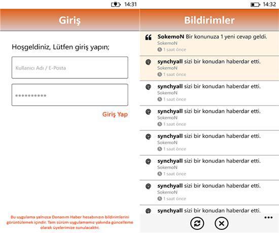 Windows Phone İçin DH Bildirim Uygulaması
