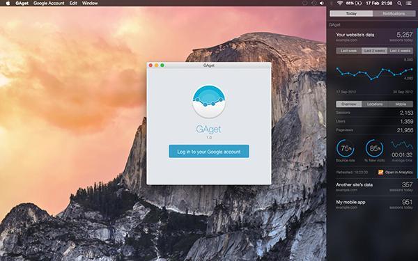 Mac sistemlere Google Analytics için hazırlanan widget uygulaması: GAget