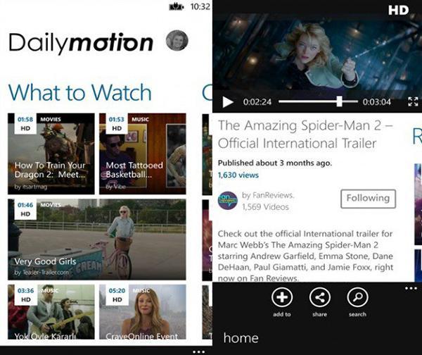 Dailymotion'un WP8 uygulamasına canlı yayın desteği eklendi