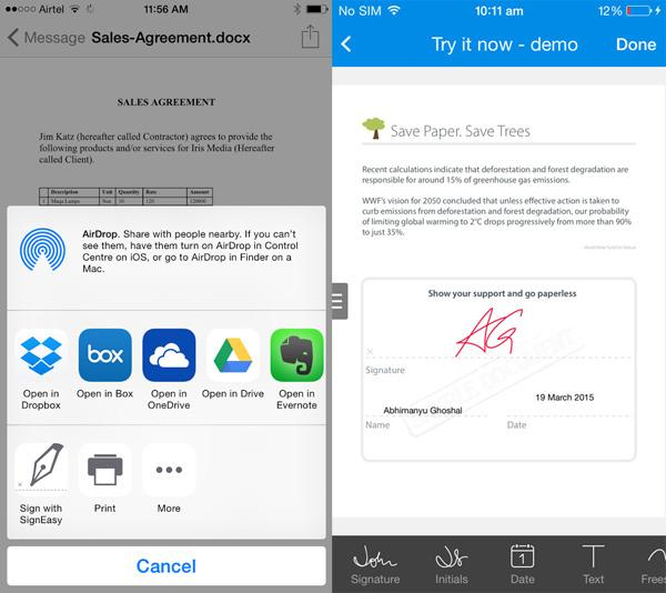 SignEasy'nin yeni iOS8 eklentisiyle her uygulama için imza desteği geliyor