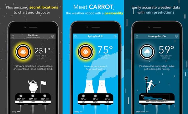 iOS platformuna konuşabilen hava durumu uygulaması: CARROT Weather
