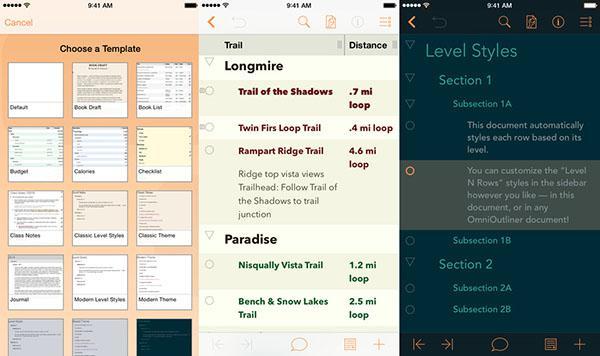 iOS uyumlu OmniOutliner 2 de evrensel yapıldı