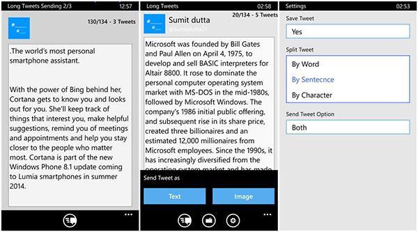 Twitter karakter limitine çözün getiren yeni Windows Phone uygulaması: Long Tweets