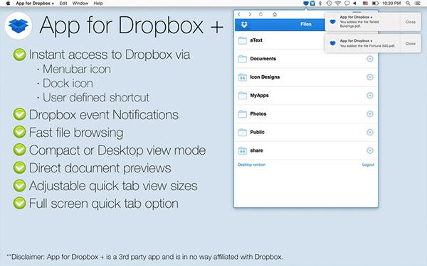Dropbox odaklı yeni Mac uygulaması: App for Dropbox +