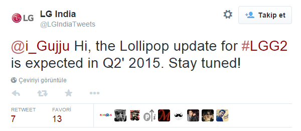 LG G2 Lollipop güncellemesine yılın ikinci çeyreğinde kavuşacak