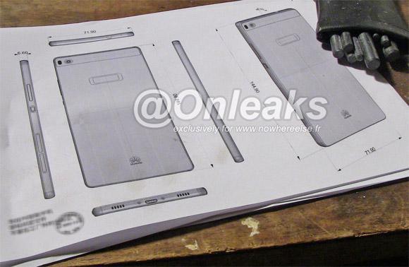 Huawei P8'in tasarım taslağı telefon boyutlarını ortaya koyuyor