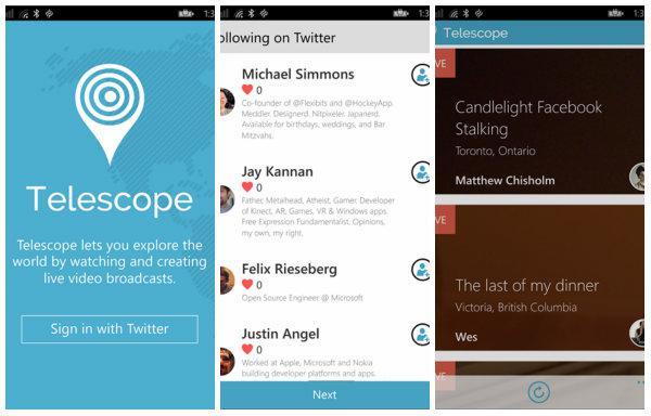 Periscope alternatif uygulaması Telescope, Windows Phone için yayımlandı