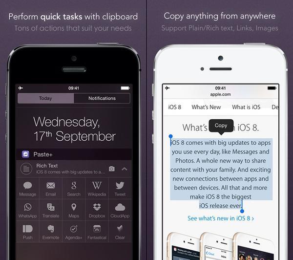 iOS uyumlu pano eklentisi Paste+, iPhone 6 ile 6 Plus desteklerine kavuştu
