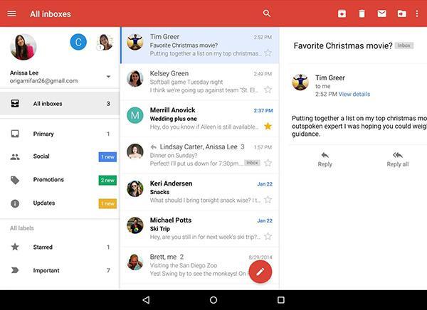 Gmail'in Android uygulaması bütün e-posta hesaplarını bir araya getiriyor