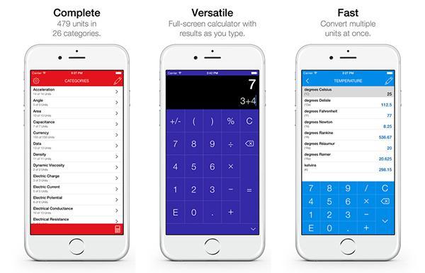 iOS uyumlu birim çeviri uygulaması Converter Pro artık ücretsiz
