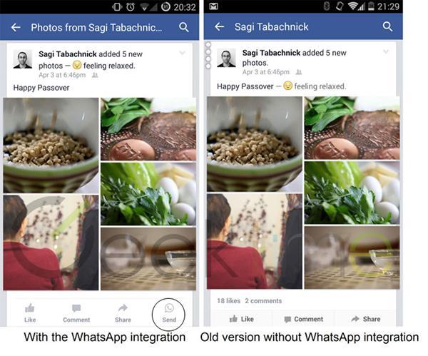 Facebook, Android platformunda WhatsApp entegrasyonunu test etmeye başladı