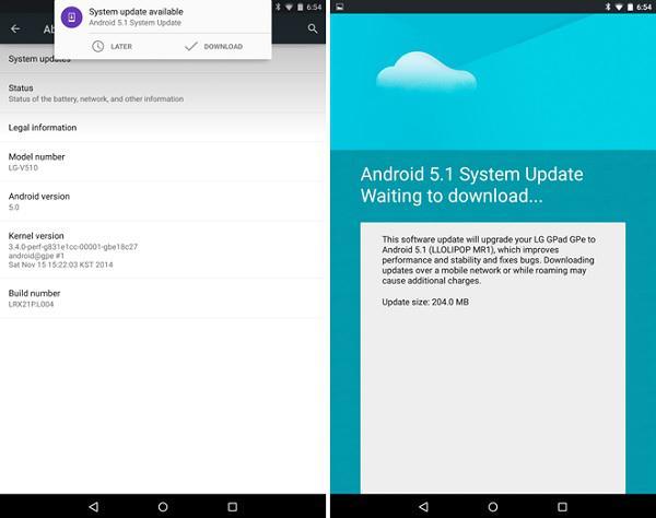 LG G Pad 8.3 GPe için Android 5.1 Lollipop güncellemesi yayınlandı