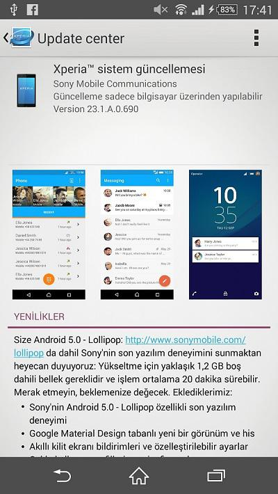 Türkiye'deki Xperia Z2 cihazları için Android 5.0 Lollipop güncellemesi yayınlandı