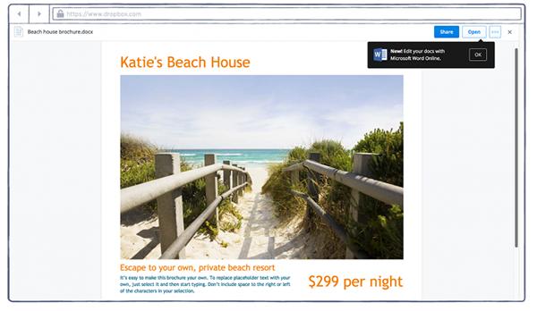 Dropbox artık Office Online dosyalarının tarayıcı üzerinden düzenlenmesine izin veriyor