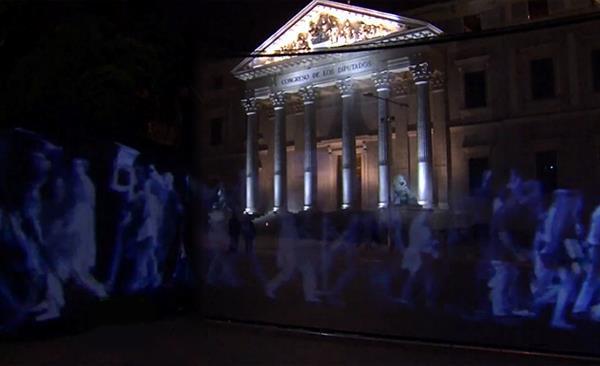 İspanya'da ilk kez holografik protesto gösterisi düzenlendi