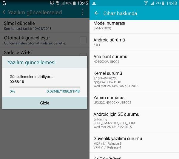 Türkiye'deki Galaxy Note 4 cihazları için Android 5.0 Lollipop güncellemesi yayınlandı