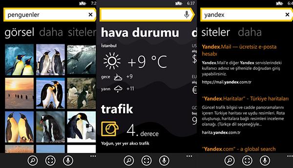 Yandex'in Windows Phone uygulaması da güncellendi