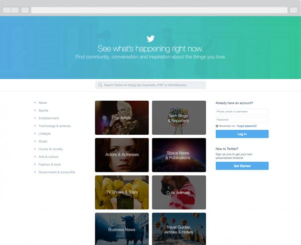 Twitter'ın ana sayfası giriş yapmayan kişiler için yenilendi