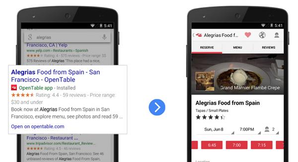 Google, Android platformunda arama içeriğine bağlı uygulamalar tavsiye etmeye başladı