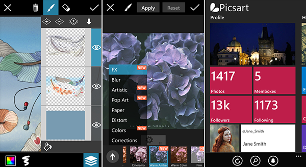 Windows Phone uyumlu fotoğraf uygulaması PicsArt güncellendi