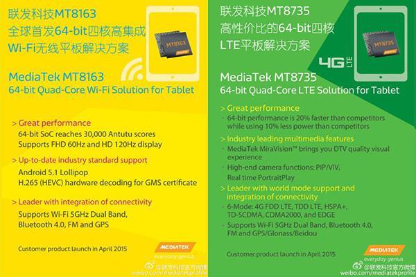 MediaTek'ten tabletlere yönelik 64bit tabanlı iki yeni yongaseti: MT8163 ve MT8735