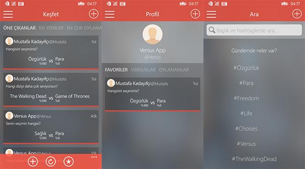 Windows Phone platfomu için yerli geliştiriciden yeni uygulama: Versus: Tarafını Seç