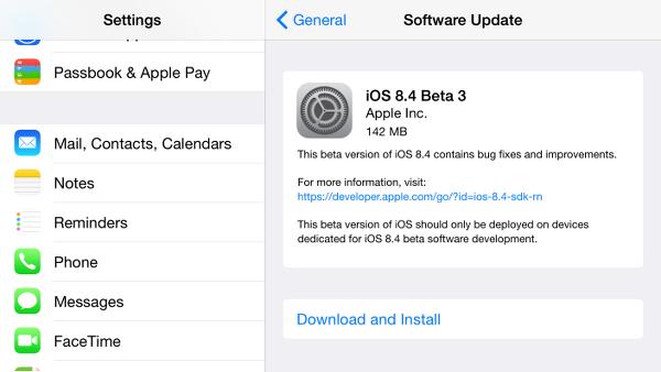iOS 8.4 sürümünün üçüncü betası geliştiricilere dağıtıldı