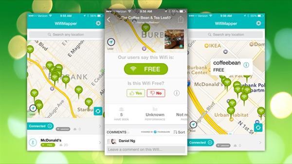 Dünyanın her yerinde ücretsiz wifi noktalarını gösteren uygulama : WifiMapper