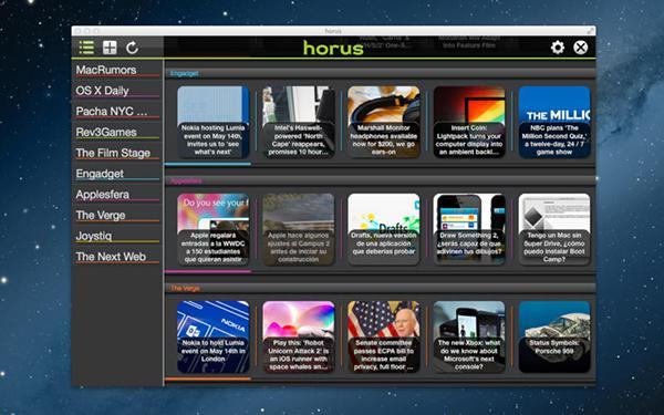 Mac uyumlu RSS uygulaması Horus News Reader artık ücretsiz