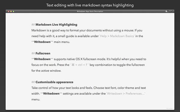 Mac için hazırlanan Writedown ücretsiz yapıldı