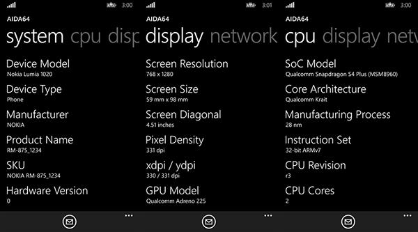 Windows Phone platfomuna sistem bilgiler için yeni uygulama: AIDA64