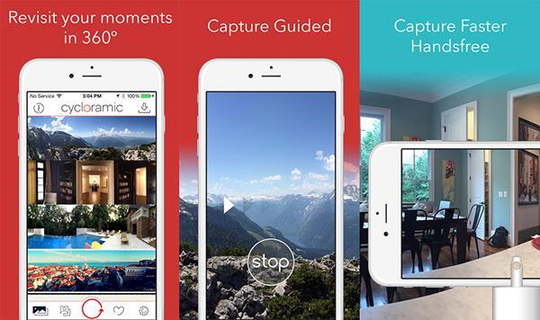 iOS uyumlu 360 derece fotoğraf ve video uygulaması Cycloramic, yeniden ücretsiz yapıldı