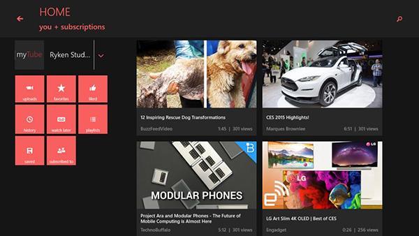 Windows Phone uyumlu YouTube istemcisi MyTube'un Windows 8.1 sürümü yayınladı