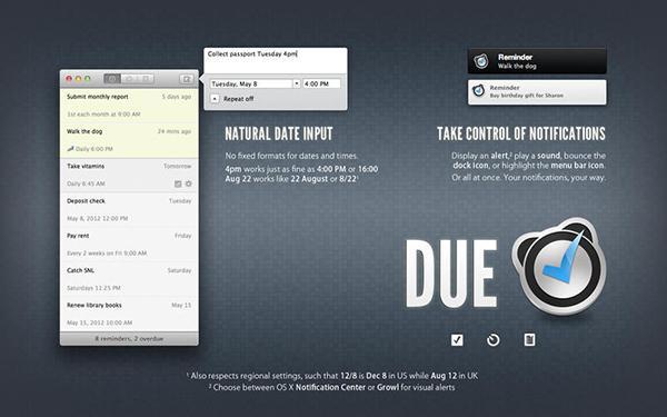 Mac özel hatırlatma uygulaması Due, %40 indirime girdi