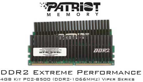 Patriot'dan 1066MHz'de çalışan 4GB'lık yeni DDR2 bellek kiti