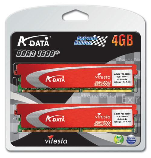 A-Data'dan 1600MHz'de çalışan Vitesta Extreme serisi DDR3 bellek kitleri