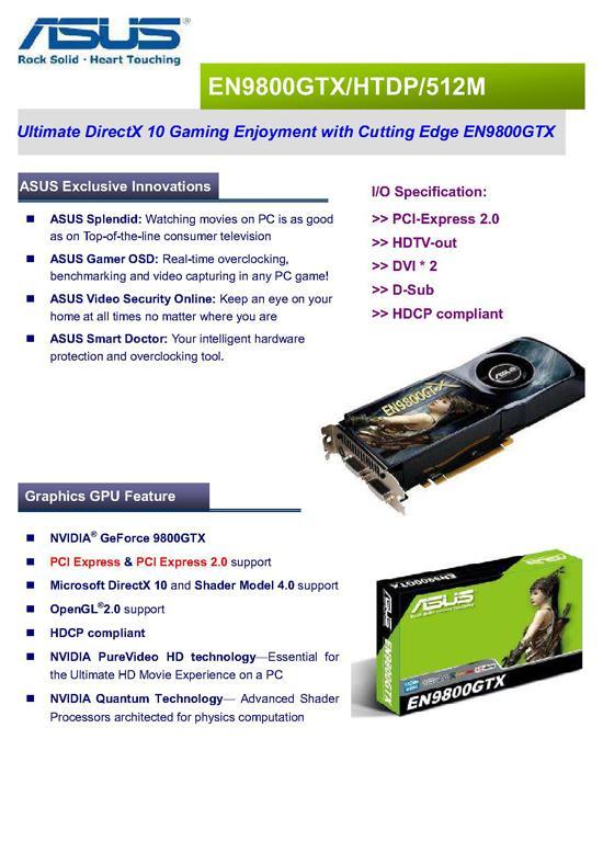 Asus'un GeForce 9800GTX modeli detaylarıyla birlikte ortaya çıktı