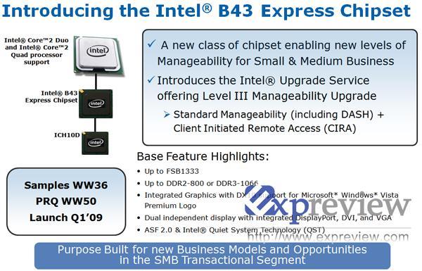 Intel B43 yonga seti üzerinde çalışıyor