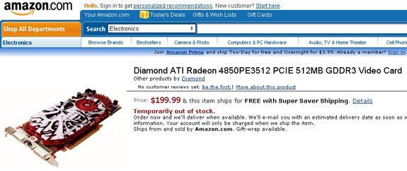 Diamond'da 200$'a Raden HD 4850 geliyor
