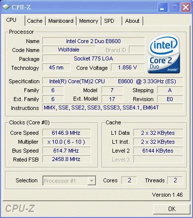 Intel'in Core 2 Duo E8600 işlemcisi 6.14GHz'i gördü