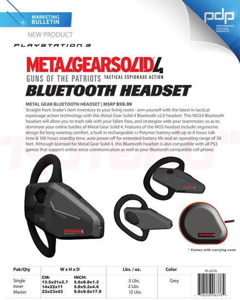 Metal Gear Solid Bluetooth kulaklık; oyunun fanatiklerine