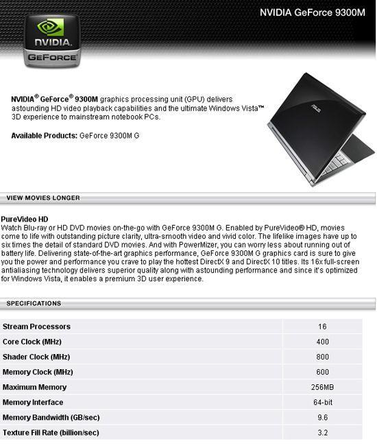 Nvidia'dan mobil GeForce 9 serisi; 9300M ve 9500M ortaya çıktı