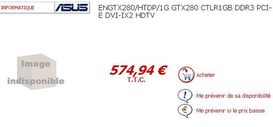 Asus GeForce GTX 280 Avrupa fiyat listelerinde görünmeye başladı