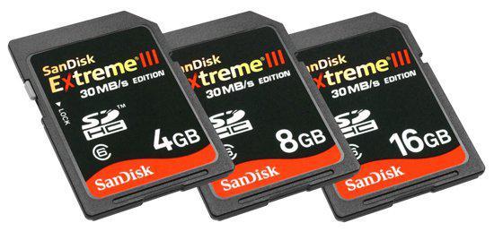 SanDisk Extreme III serisi yüksek performanslı SDHC kartlarını duyurdu