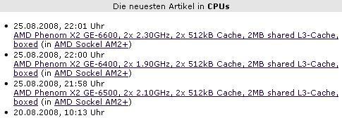 AMD'nin çift çekirdekli Phenom X2 (Kuma) işlemcileri listelere girmeye başladı